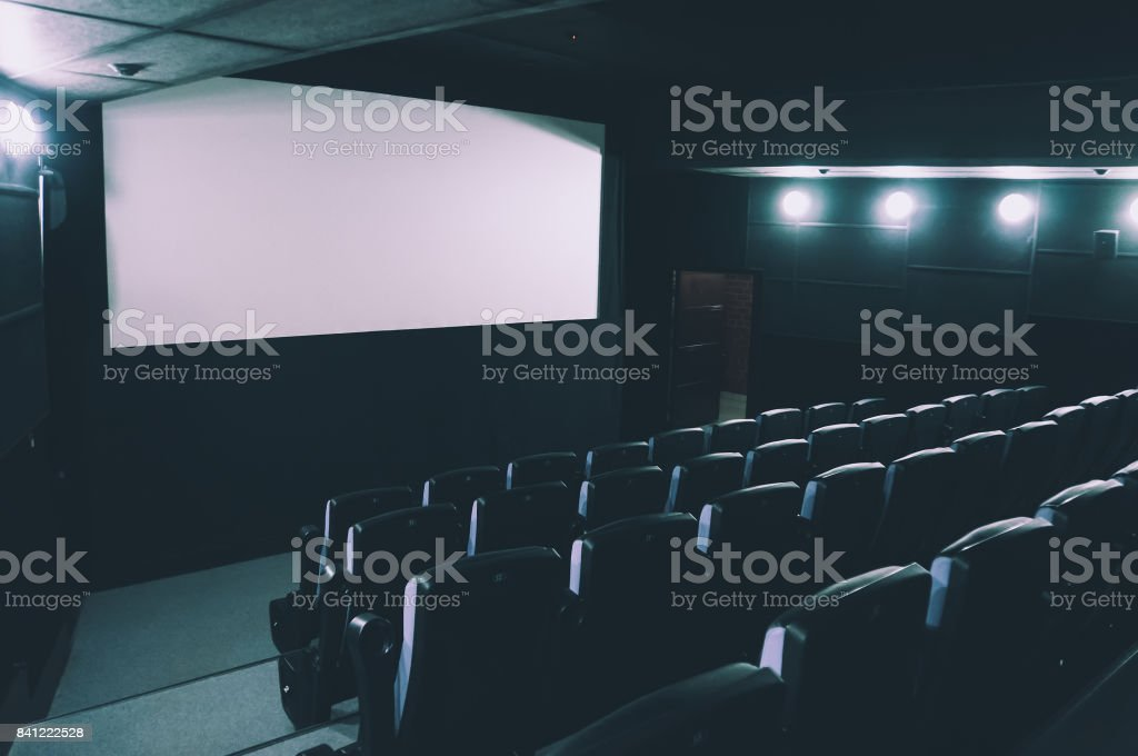 Cinema auditorium. 3d rendering. stock photo