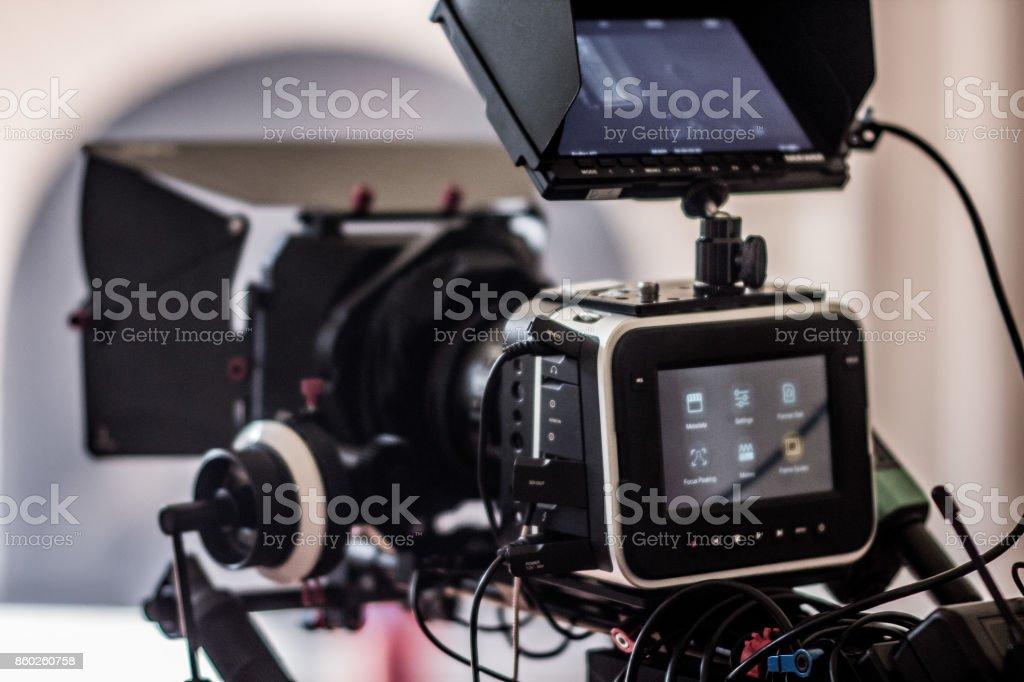 Cinema Camera on Film Set stock photo
