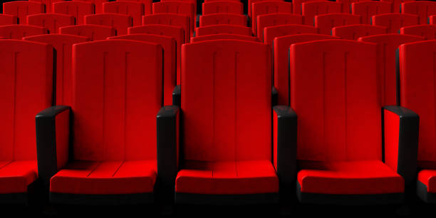Cinema chairs background, front view. 3d illustration Red theater chairs background, front view. 3d illustration seat stock pictures, royalty-free photos & images