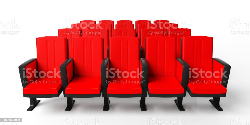 Cinema Chairs Isolated On White Background View From Above 3d