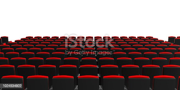 istock Cinema chairs on white background, view from behind, copyspace. 3d illustration 1024534922