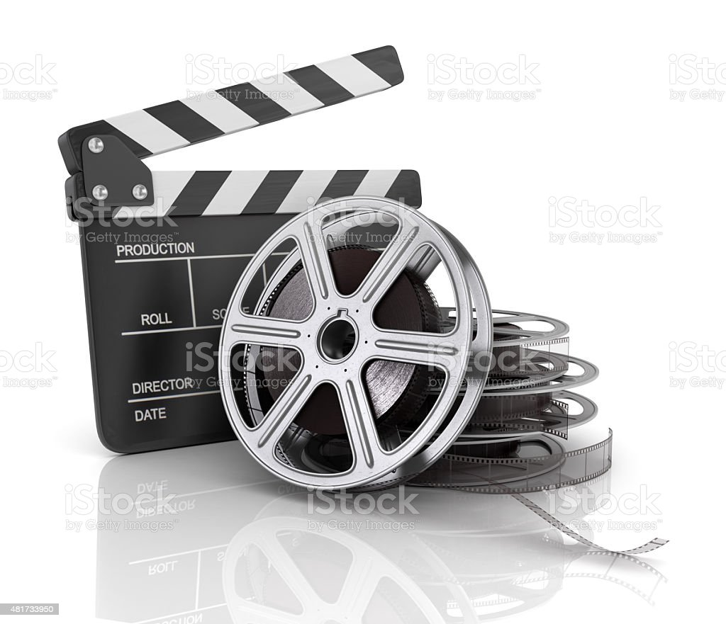 Cinema clap and film reel, stock photo
