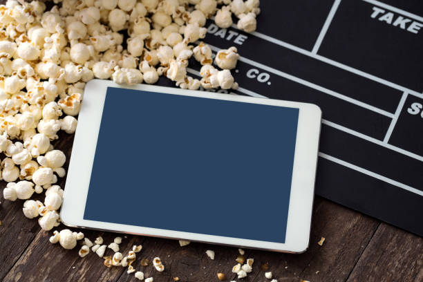 Kino-Konzept-Popcorn, Klöppel, Film, Kino, Tablet, – Foto