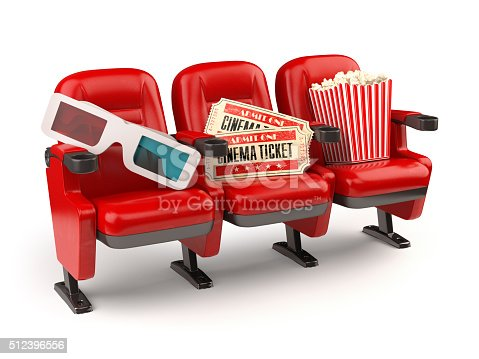 istock Cinema concept. Red seats with tickets, popcorn and 3d glasses. 512396556