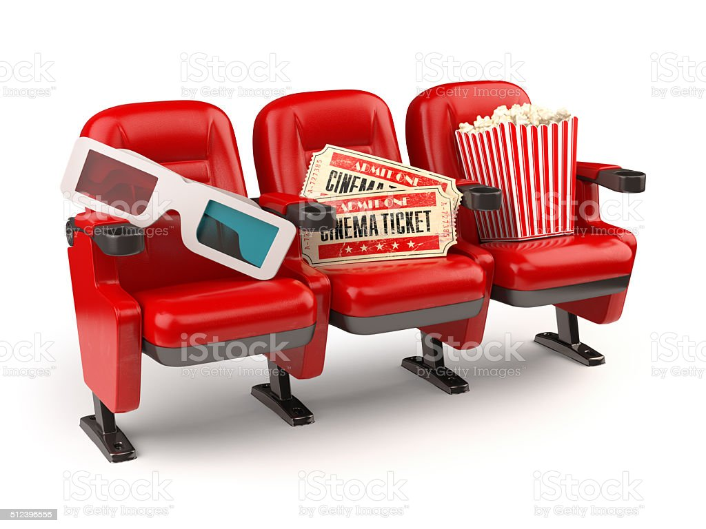 Cinema concept. Red seats with tickets, popcorn and 3d glasses. stock photo