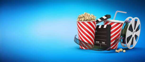 kino-unterhaltung mit snacks - film oder fernsehvorführung stock-fotos und bilder