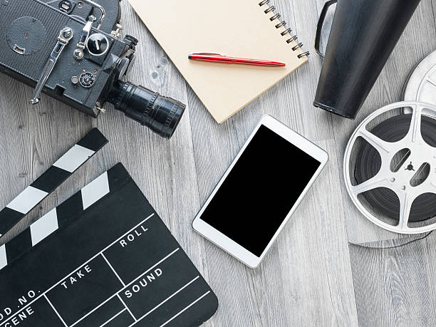 cinema film production equipments on floor - producer stock pictures, royalty-free photos & images