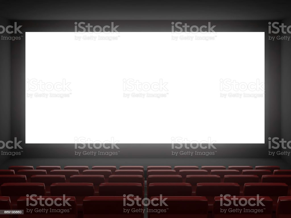 cinema hall white screen.3d rendering stock photo
