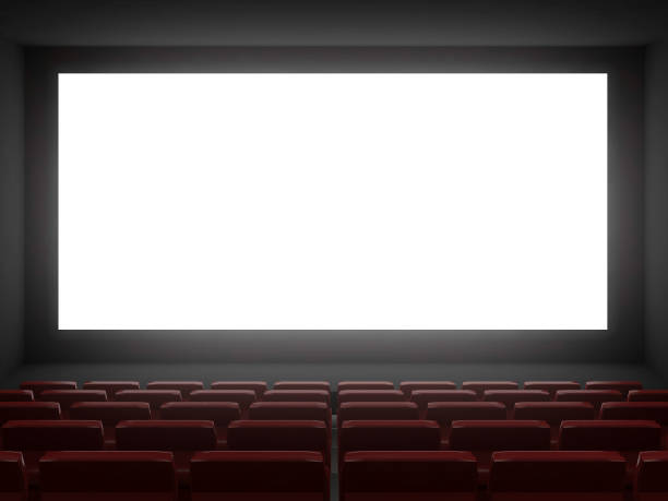 cinema hall white screen.3d rendering - projection screen stock photos and pictures