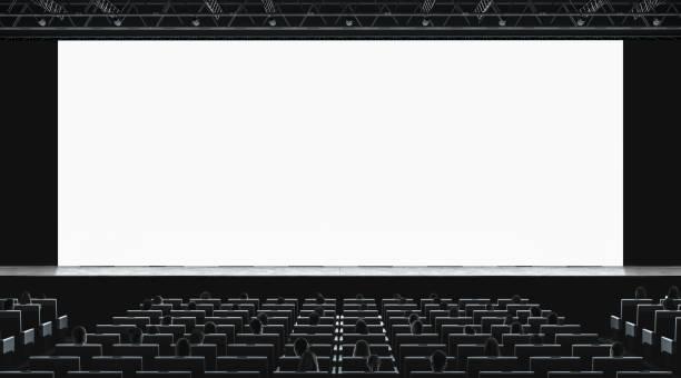 映画館ホール講堂空白画面のモックアップで映画を見ていると - 芸能・娯楽施設 ストックフォトと画像