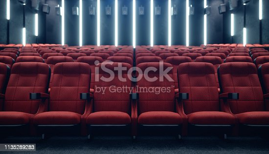 Cinema hall with blank screen and empty seats. Modern design with striking lighting, neon lighting. Audio system on the walls. Cinema hall without people. White screen with copy space. 3D illustration