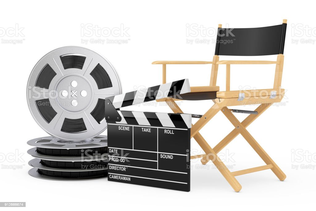 Cinema Industry Concept. Director Chair, Movie Clapper and Film Reels. 3d Rendering stock photo