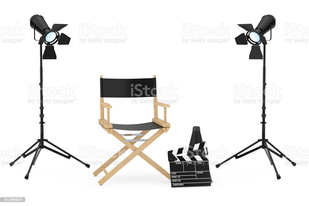 Cinema Industry Concept Director Chair Movie Clapper And Spotlights
