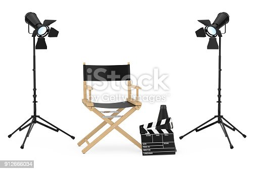 istock Cinema Industry Concept. Director Chair, Movie Clapper and  Spotlights. 3d Rendering 912666034