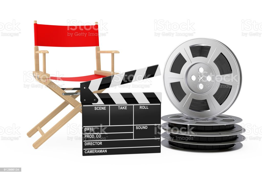 Cinema Industry Concept. Red Director Chair, Movie Clapper and Film Reels. 3d Rendering stock photo