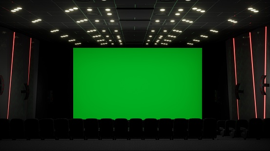 Cinema Interior Of Movie Theatre With Blank Movie Theater Screen With Green Screen And Empty Seats Movie Entertainment Concept 3d Rendering Stock Photo Download Image Now Istock
