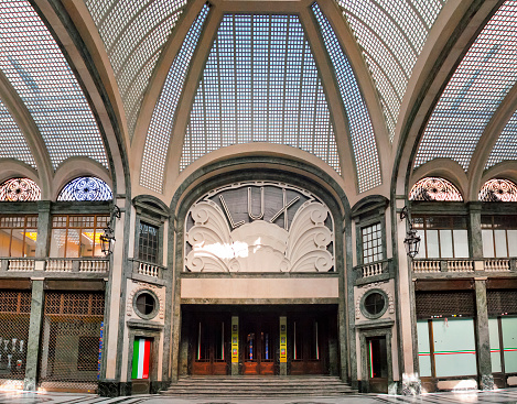Cinema Lux seen from the entrance of the San Federico Gallery in Turin, Italy