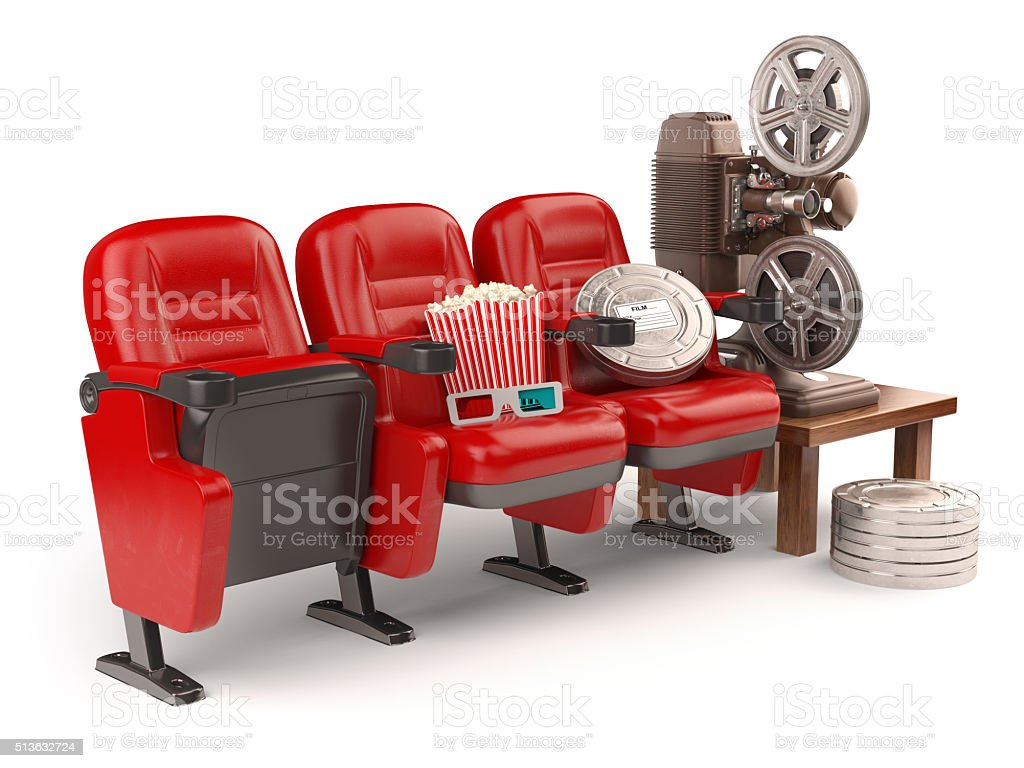 Cinema, movie or home video concept. Seats with reels, popcorm stock photo