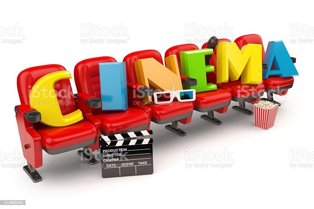 Cinema, movie or video concept. Row of seats stock photo