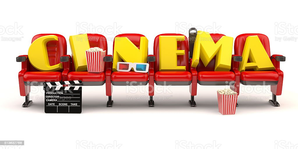 Cinema, movie or video concept. Row of seats with popcorm stock photo