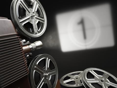 Cinema, movie or video concept. Vintage projector