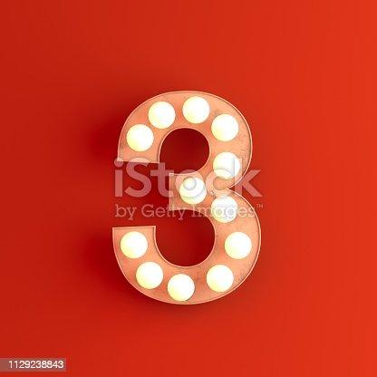 cinema movie theatre illuminated number 3