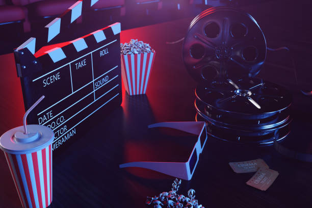 Cinema movie watching. Composition with 3d glasses, movie clapper, film reel, popcorn and filmstrip. Cinema concept wtih blue light. Red chairs in the cinema hall in the background. 3D illustration stock photo