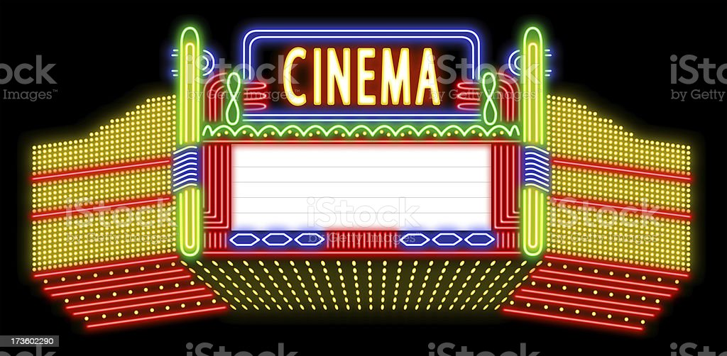 Cinema neon sign stock photo