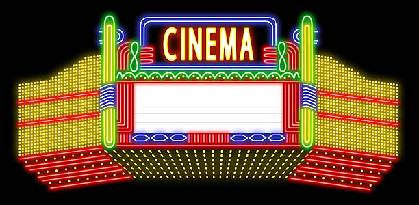 Cinema neon sign Cinema neon sign with space for text. theater marquee commercial sign stock pictures, royalty-free photos & images