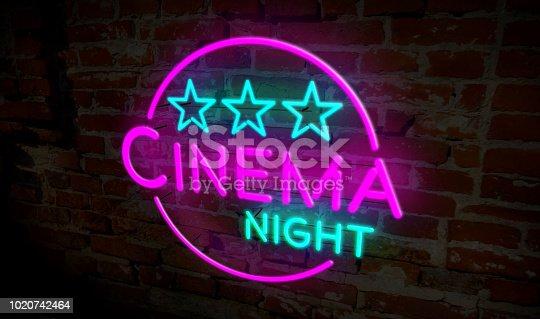 991292404 istock photo Cinema night neon 1020742464