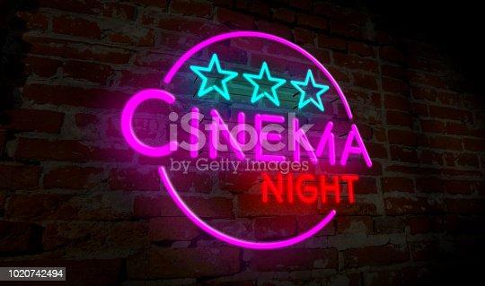 991292404 istock photo Cinema night neon 1020742494