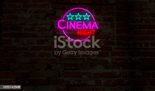 991292404 istock photo Cinema night neon 1020742508
