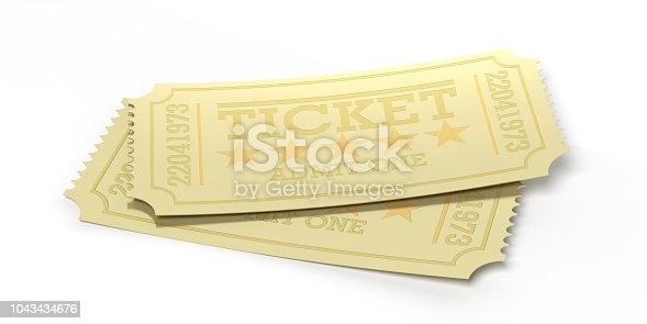 istock Cinema old type golden tickets isolated recycle on a white background, 3d illustration. 1043434676