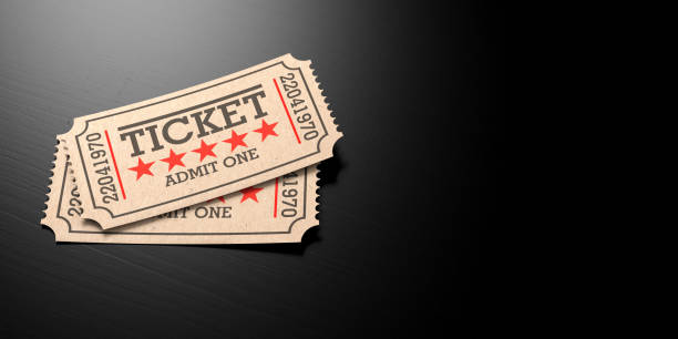 cinema old type tickets beige isolated recycle, with copy space, on a black wooden background, 3d illustration. - biglietto del cinema foto e immagini stock