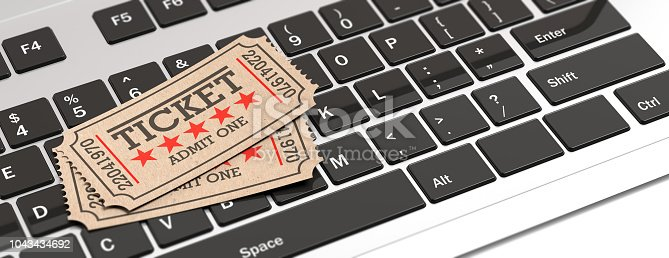 istock Cinema old type tickets isolated on a laptop background, banner, 3d illustration. 1043434692