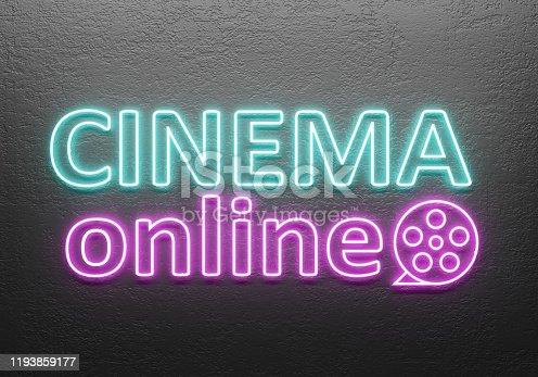 991292404 istock photo Cinema Online Neon 1193859177