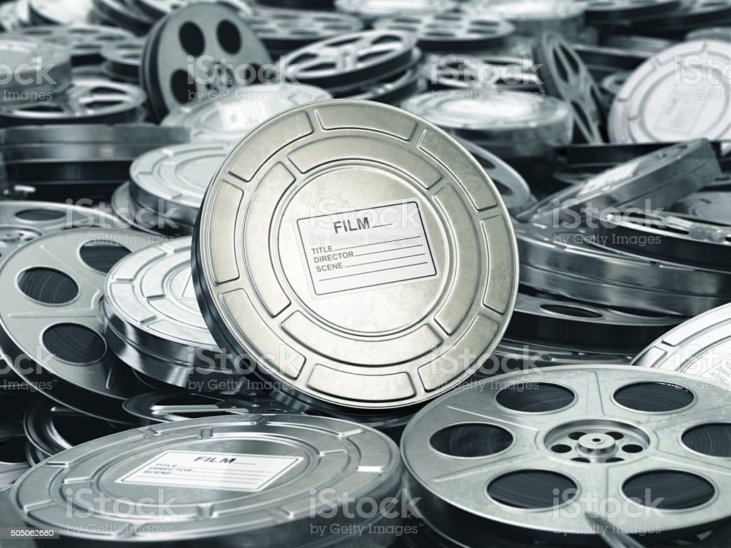 Cinema or movie concept. Video reels background. Films collectio stock photo
