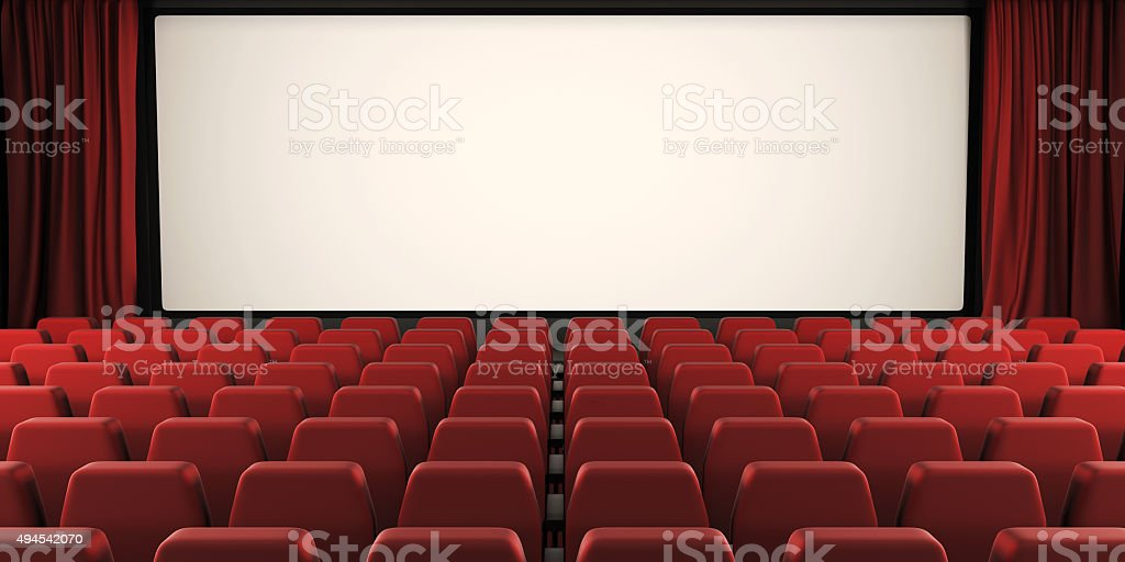 Cinema screen with open curtain. 3d. stock photo