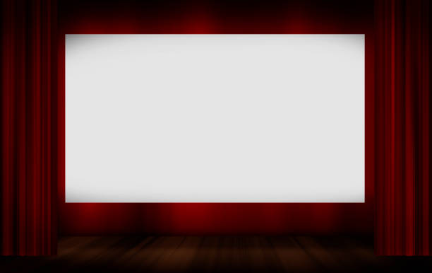Cinema screen with red curtains stock photo