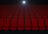 cinema, seats, red, concept, background, theater, empty