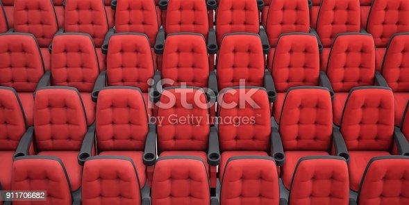 istock Cinema seats. 3d rendering. Rows armchair closeup. 911706682