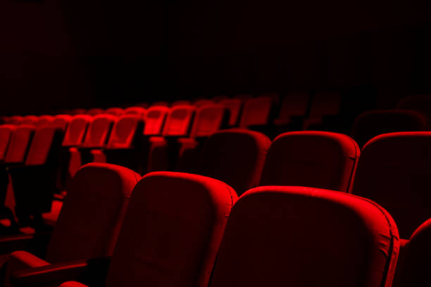 Cinema / theater red seats background stock photo