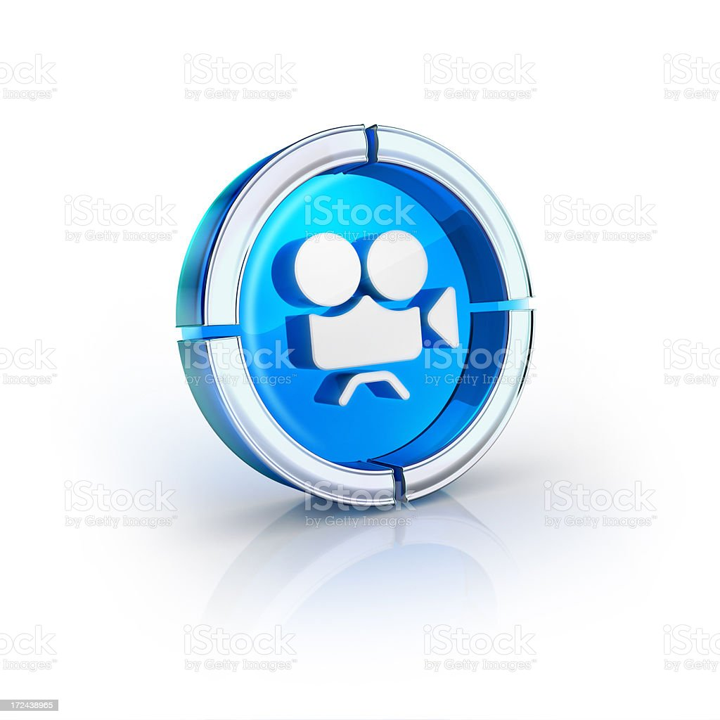 Cinema video camera glossy glass icon stock photo