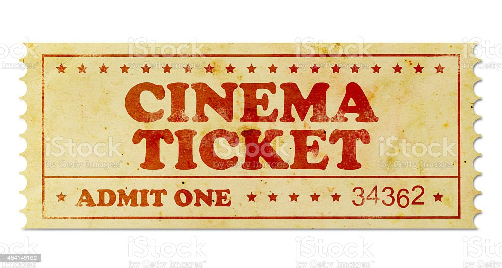 Cinema vintage ticket stock photo
