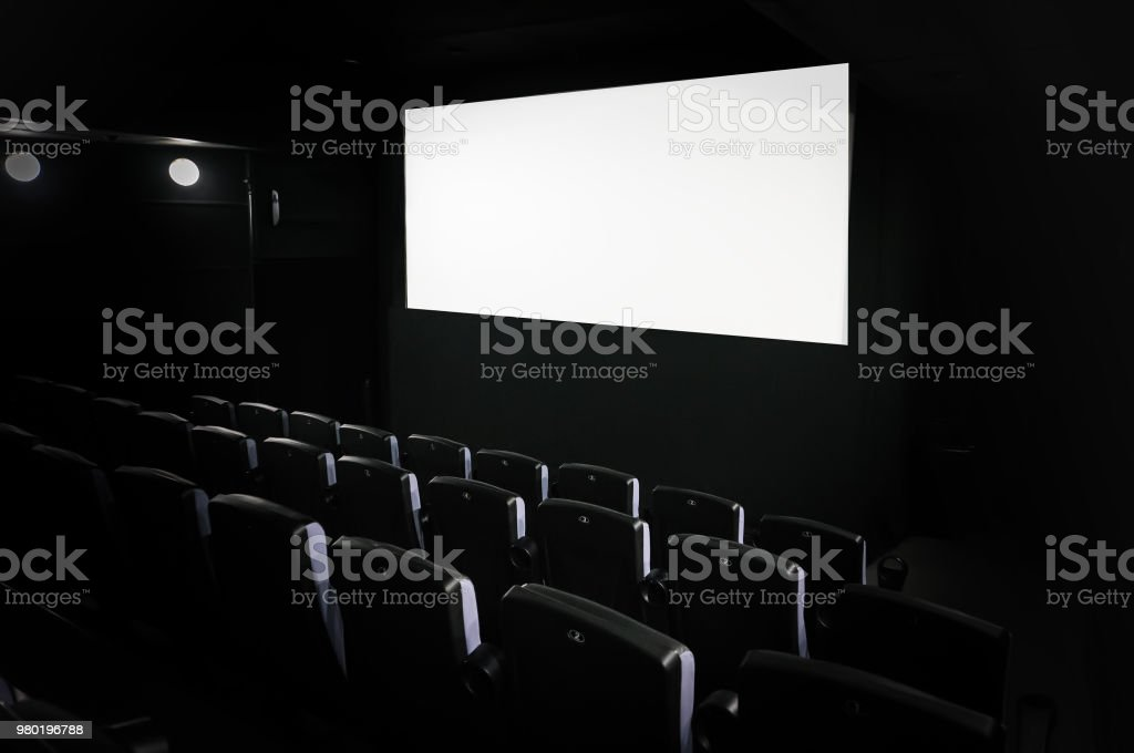 cinema white screen with seats stock photo