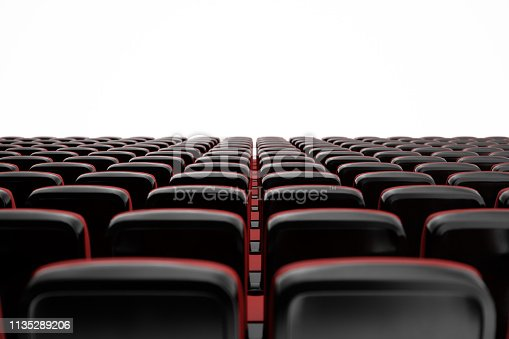 Cinema with empty seats, blank screen, mockup. Movie concept, 3D illustration