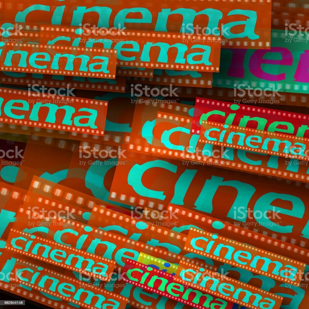 Cinema word on overlapping planes. Red and blue. royalty-free stock photo