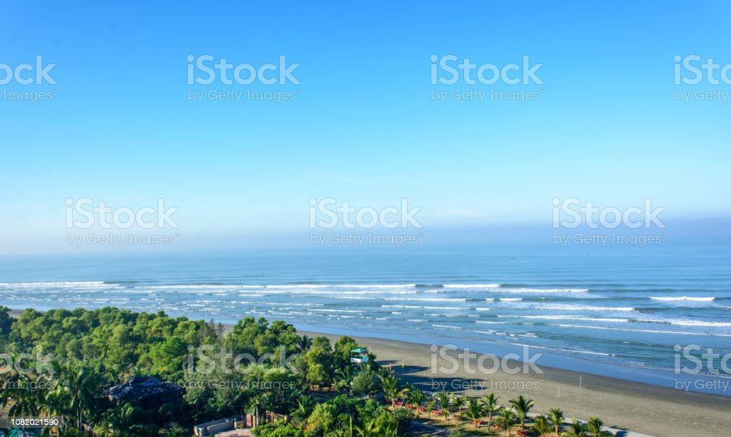 Cinemascope view of the World longest natural sandy sea beach - Cox's Bazar, Bangladesh stock photo