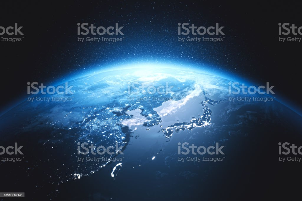 Cinematic Blue Earth View From Space At Night To East Asia (World Map Credits To NASA) stock photo