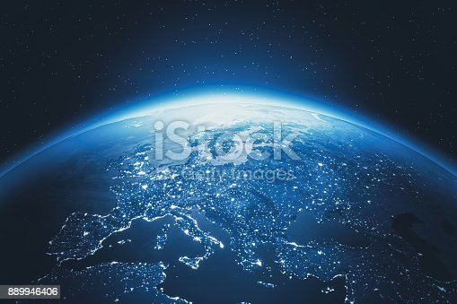 istock Cinematic Blue Earth View From Space At Night To Europe 889946406